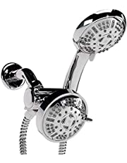 Aqua Love Shower Head Combo, High Pressure Mist and Rainfall Handheld Shower Heads with 9 Spray Settings, Stainless Steel Hose and Shower Bracket Chrome Set, Water Saving Air Infusion, Use Separately or Together