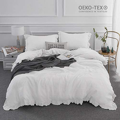Simple/&Opulence 100/% Stone Washed Linen Plain Linen White Grey Fitted Sheet
