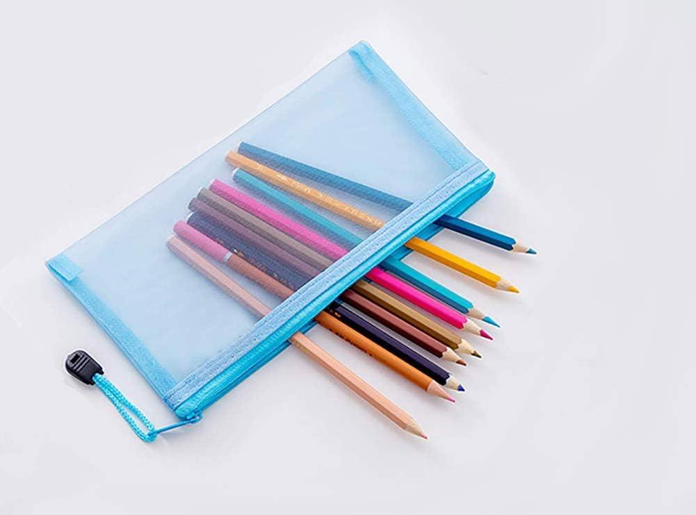 20-Pack Sacs en filet Pochette transparente /à fermeture /éclair Voir /à travers la trousse /à crayons dexamen Taille A6