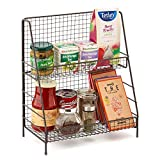 EZOWare 2-Tier Organiser Rack, Wire Basket Storage Container Countertop Shelf for Kitchenware Bathroom Cans Foods Spice Office and more - Rustic Brown