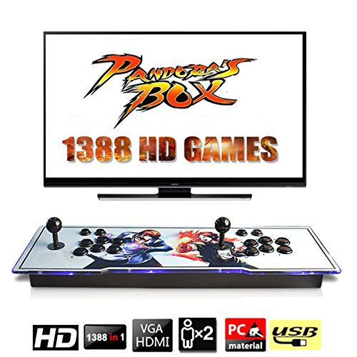 YaJing [1388 HD Arcade Games] Arcade Video Game Console 1388 Retro Games Pandoras Box 5s Plus Arcade Machine Double Arcade Joystick Built in Speaker Cooling Fan (The King of Fighters)