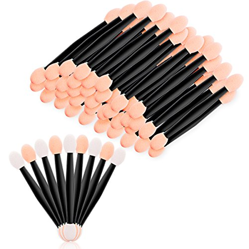 - Araluky 200 Pcs Disposable Eyeshadow Brush Sponge Tipped Oval Dual Sided Eyeshadow Brush Makeup Applicator for Women Young Ladies (Black)