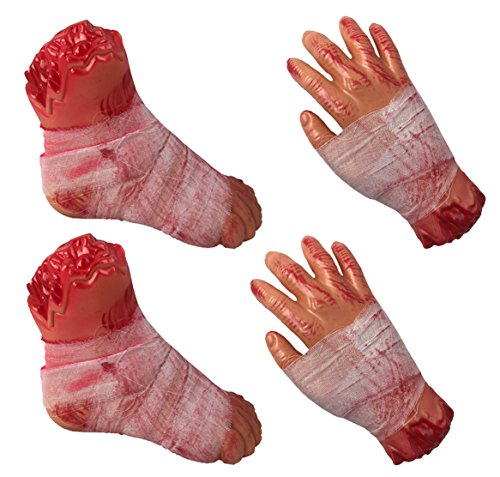 MB Halloween Fake Dead Bloody Body Parts Bundle - Severed Hands and Feet - Plastic Party Prop Decoration (Set of 4)