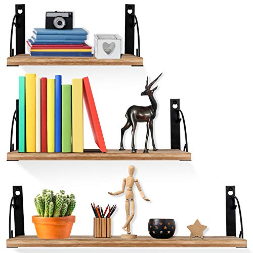 UHNDY Floating Shelves, Wall Mounted Set of 3, Paulownia Storage Shelf, Rustic Wood Wall Hanging Shelves, Above Storage for Kitchen, Living Room and Bedroom