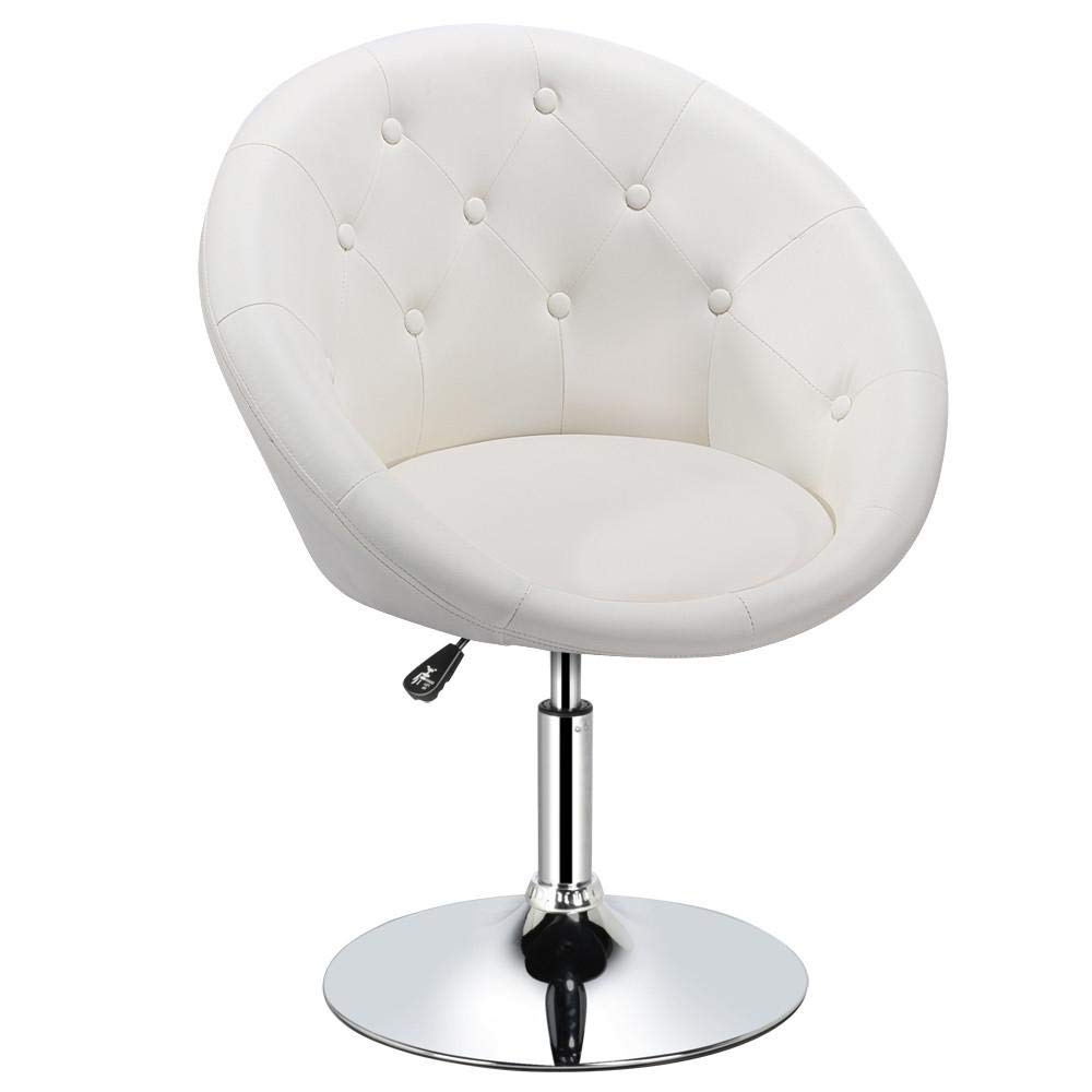 Yaheetech 360° Swivel Adjustable Contemporary Round Tufted Back Accent Chair PU Leather,White