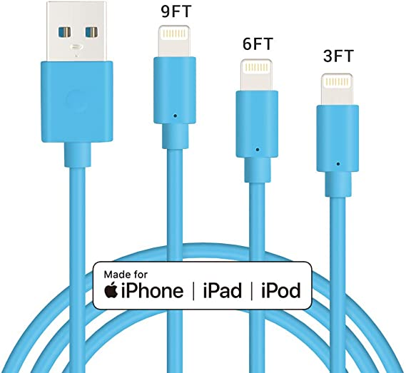 Lightning Cable 3Pack 3FT 6FT 9FT Charger Cord MFI Certified Charging Cable Cord