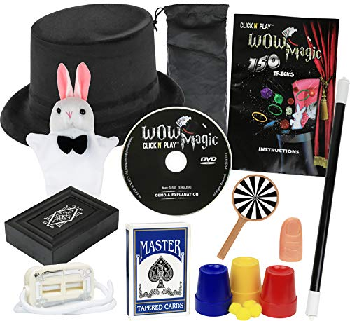 Click N' Play Rabbit & Hat Magic Trick Set for Kids, Over 150 Tricks, Manual & DVD Tutorial, Brown CNP31500 - First Magic Set