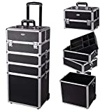 AW 4 in1 Rolling Makeup Artist Train Case Lockable Trolley Cosmetic Organizer Trolley Travel Box 2 Wheels Beauty Black