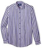 18 35 shirt - Buttoned Down Men's Tailored Fit Supima Cotton Spread-Collar Sport Shirt, Dark Purple Plaid, 18-18.5