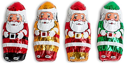 Madelaine Solid Premium Milk Chocolate Mini Santa's, Wrapped In Italian Foil Featuring Assorted Designs - 1 LB
