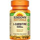 Sundown Naturals L-Carnitine, 500 mg, 30 Tablets (Pack of 2)