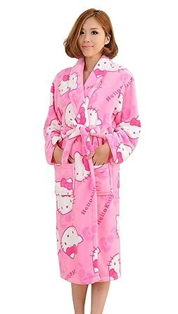 Tonwhar Lady's Long Bathrobes Housecoat Sleepwear Nightgown Loungewear (Kitty)