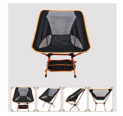 Heruai Camping Picnic Folding Chairs Light Leisure Folding Portable Padded Chair Folding Camping Chair Aluminum Alloy Bracket , orange by Heruai (Image #1)