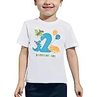 AMZTM 2do Dinosaurio Camiseta Cumpleaños Bebé Niño Cumpleaño Manga Corta Tops