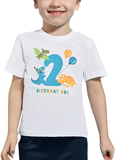 AMZTM 2 Años Dinosaurio Camiseta de Manga Corta Cumpleaños Bebé Niño Cumpleaño Manga Corta Tops 2do 100% Algodón Blanca Dino Impreso Tops T Shirt (Blanca, 2 Años-90): Amazon.es: Ropa y accesorios
