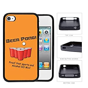 BEER PONG Funny Retro Postcard Orange Background [iPhone 4 4s] Rubber Silicone TPU Cell Phone Case wangjiang maoyi