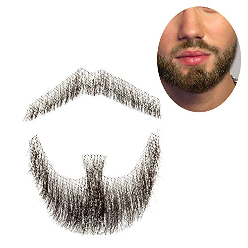 100% Human Hair Fake Men's Man Beard Makeup Mustache for Costume And Party Cosplay (Brown) -