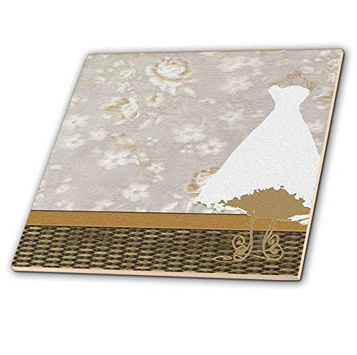 3dRose Beverly Turner Wedding Attendant and Bridal Party Design - Dress on form in Room, Sepia Roses on Wallpaper - 4 Inch Ceramic Tile (ct_108455_1) ()