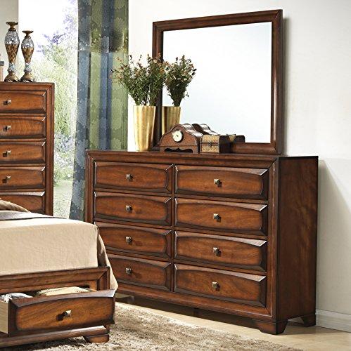 Roundhill Furniture Oakland 139 Antique Oak Finish Wood 6 Drawers Dresser & Mirror Solid Oak Wood Bedroom Mirror