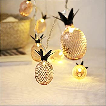 Amazon Com Lidore Set Of 10 Metal Pineapple Shaped Lanterns String Lights Best For