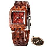 BEWELL Wood Watches for Women Lightweight Slim Bracelet with Calendar Window Square Wrist Watch W130A