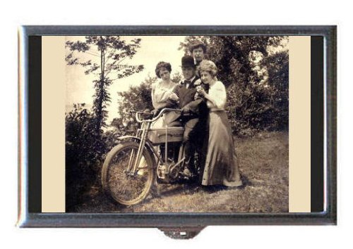 VINTAGE MOTORCYCLE PHOTOGRAPH Coin, Mint or Pill Box: Made in USA! ()
