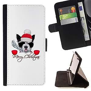 Momo Phone Case / Flip Funda de Cuero Case Cover - Invierno Navidad Pug Boston Terrier X-Mas de vacaciones - Samsung Galaxy S6 EDGE