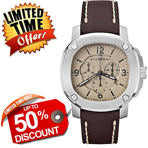 Burberry The Britain SWISS LUXURY Round Stainless Steel Chronograph Brown Leather Band 47mm Brown Date Dial Men Unisex Women Watch BBY1101