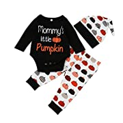 Lingery Newborn Infant Baby Romper Tops+Pants Halloween Outfits Clothes 3pcs Set (0-3 Months)