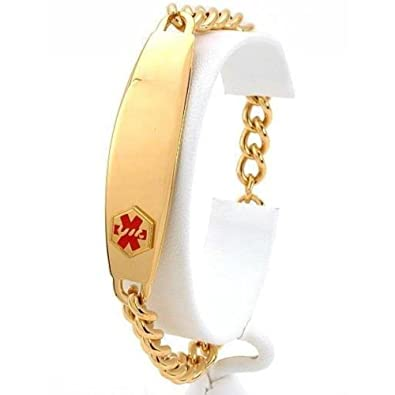 FindingKing Medical ID Information Bracelet Gold Plated 8