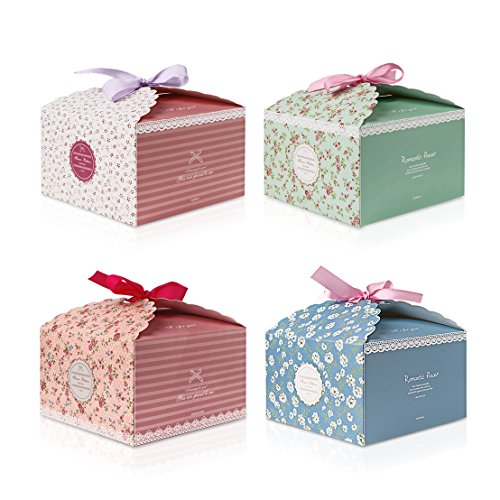 ALLOMN 4pcs Paper Gift Box Decorative Treats Boxes Cookies Candy Box with Silk Ribbon for Christmas Birthday Wedding, Flower Pattern