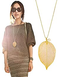 """The Tale of Autumn Long Necklace Handmade Natural Boho Leaf with 30"""" Chain"""