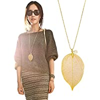 "Cloris Tautou The Tale of Autumn Long Necklace Handmade Natural Boho Leaf With 30"" Chain"
