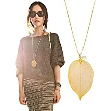 """Cloris Tautou The Tale of Autumn Long Necklace Handmade Natural Boho Leaf With 30"""" Chain"""