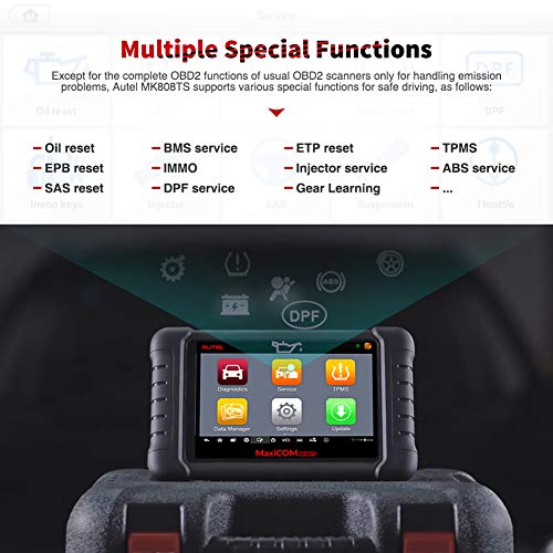 Autel MaxiCOM MK808TS Enhanced Diagnostic Scan Tool of MK808BT and MK808 with Complete TPMS Functions, Full Systems Diagnoses and Reset Services including EPB, BMS, SAS, DPF, Oil Reset IMMO Service et by Autel (Image #1)