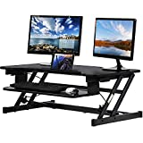 Standing Desk Converter Computer Workstation Adjustable Height Desk Home Office Desk Sit Stand Desk Dual Laptop Monitor Riser, 32 inches