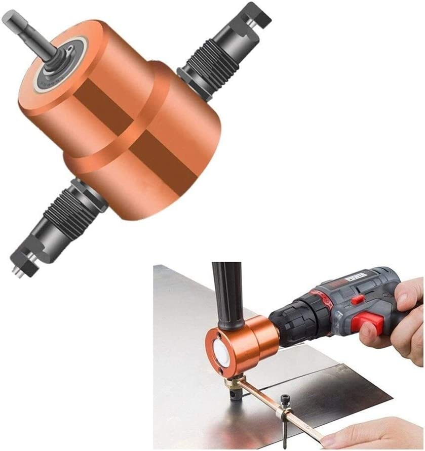 Double Tip Sheet Metal Cutting Nibbler Metal Saw Cutter 360 Degree Adjustable Drill Attachment Multi Tool for DIY (Color : A) A
