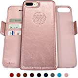Dreem Fibonacci 2-in-1 Wallet-Case for iPhone 8-Plus & 7-Plus, Magnetic Detachable Shock-Proof TPU Slim-Case, Wireless Charge, RFID Protection, 2-Way Stand, Luxury Vegan Leather, Gift-Box - Rose-Gold
