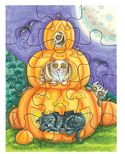 (Three Cats in Pumpkins Halloween Picture Jigsaw Puzzle Print 30)
