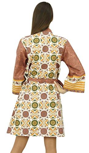 Amoghah Corta De Las Mujeres Del Traje De Algodón Impresas De Dama De Honor Getting Ready Wrap Multicolor