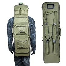 38 Inch Tactical Waterproof Double Rifle Storage Case Backpack Military Double Gun Bag with Padded Shoulder Strap and Pouches, Green