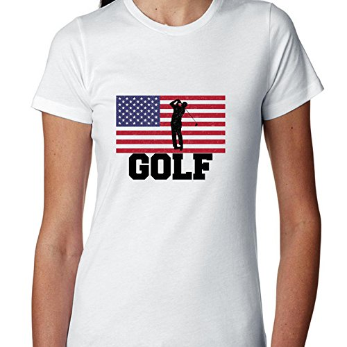 USA Olympic - Golf - Flag - Silhouette Women's Cotton - Team Golf Usa Olympics Apparel
