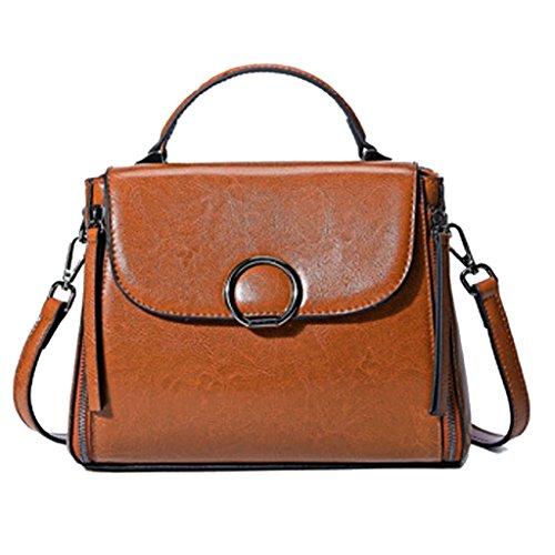 Leno Bolso de señora bolsos de cuero hechos a mano bolsa de viaje Messenger bandolera (Color : Negro) Loess Color