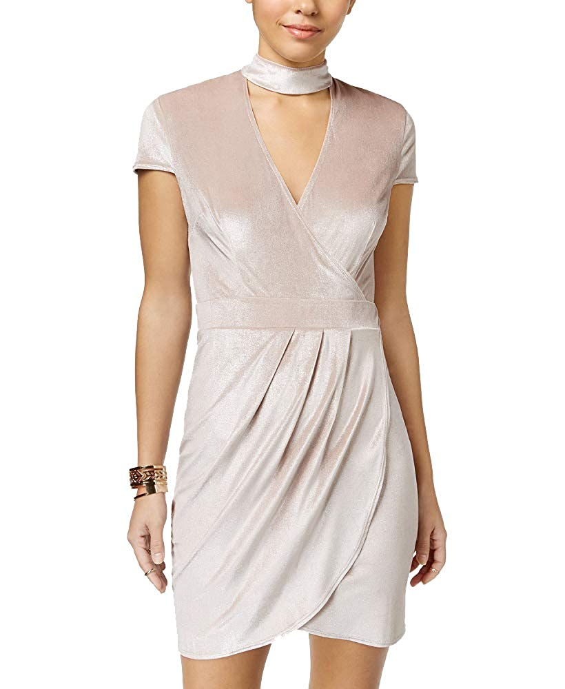 Champagne Silver B Darlin Juniors' Velvet FauxWrap Choker Dress