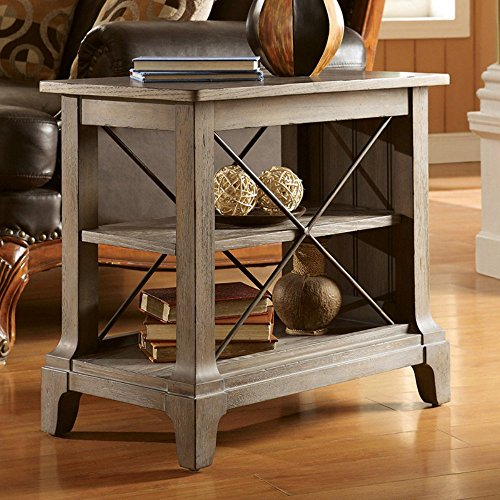 Chair Side Table with Center Removable Shelf Artisan Oak Rectangular Table