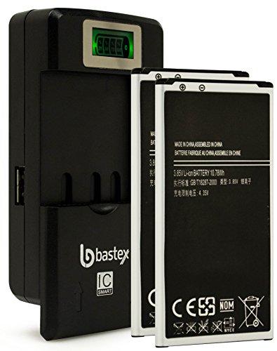 Two (2pk) Bastex Replacement Battery for Samsung Galaxy S5 i9600 3.85V 2800 mAh Plus One (1) Bastex External Dock LCD Battery (External Li Ion Battery)