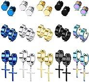 LOYALLOOK 15Pairs Stainless Steel Stud Earrings Cross Hoop Earrings Set for Men Women Dangle Hinged Earrings E