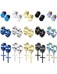 LOYALLOOK 15Pairs Stainless Steel Stud Earrings Cross Hoop Earrings Set for Men Women Dangle Hinged Earrings Ear Piercing Jewelry
