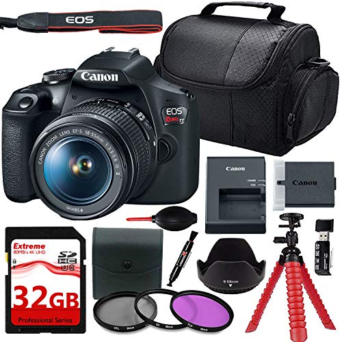 Canon EOS Rebel T7 DSLR Camera with 18-55mm Lens + 32GB Extreme Card + Filters + Tulip Hood & More