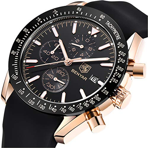 Leather Watch Black Fashion - BENYAR Fashion Business Casual Waterproof Timing Quartz Men's Watch, Silicone/Leather/Stainless Steel Comfort Strap (Black)